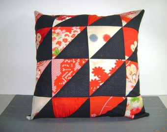 "Silk and Cotton 16 patch triangle pillow 18"" by 18"" pillow"