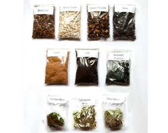 Mix and Match Terrarium kit. Soil / Activated Charcoal / Gravels / Mosses - Choose what you love! By Geodesium