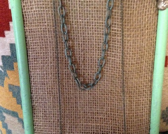 Turquoise feather chain necklace