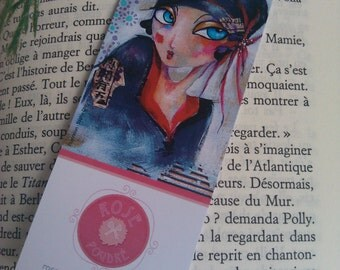Bookmark illustration retro girl with feathers