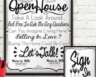 Open House Realtor Real Estate Personalized Sign & Sign In Sheet, Welcome Sign Personalized, Real Estate Agent, Real Estate Flyer, Custom