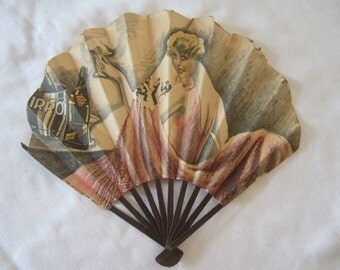 Rare Vintage Advertising Irroy Champagne Paper Fan