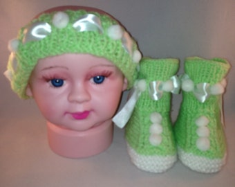Green and White Headband with booties