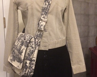 French Toile Messenger Bag Field Service Ministry