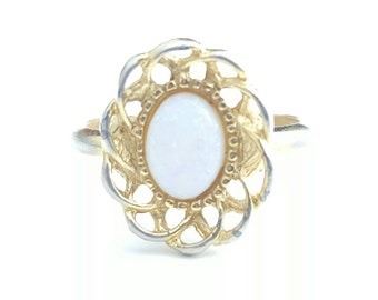 Vintage Gold Tone and Simulated Opal Costume Ring- Size 4-5