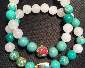 Acai Seeds. Ocean Jasper, White Quartz, Tibetan Beads, Womens' Bracelets. 8-10mm Seeds, Stones and Tibetan Beads, Womens' Bracelets cm