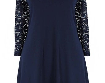 New Emily Navy Blue Sequin Lace Evening Plus Size Swing Dress