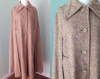 1970s Jimmy Hourihan of Dublin Brown Irish Wool Cape | 70s Full Length Collared Donegal Tweed Coat | Vintage Retro Long Button Down Jacket