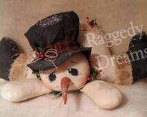 Handmade Primitive Folk Art Christmas Oops I've Fallen Raggedy Snowman Holiday Doll Decor