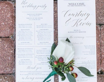 Black and Gold Wedding Program Script Printable PDF