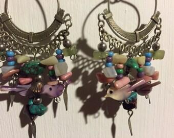 Purple and Turquoise beaded chandelier earrings