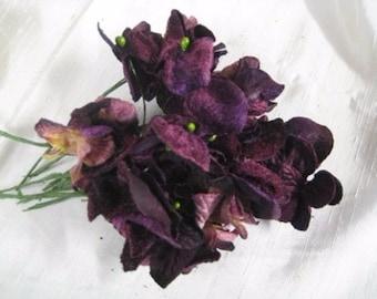 Hydrangea velvet flowers bunch of 18 heads dark purple, millenery, handbags, scrapbooking, home decor
