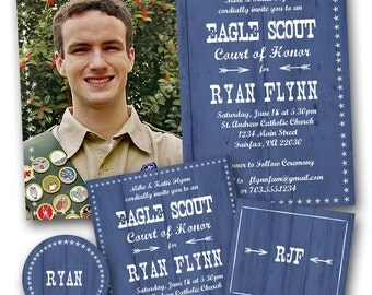 Blue Woodplank Eagle Scout Invitation