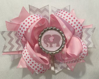 Pink Elephant Stacked Boutique Hair Bow