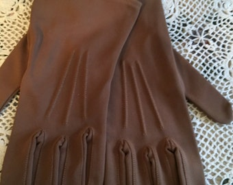 Vintage Brown Nylon Strech Gloves