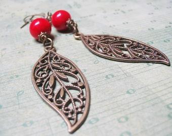 Red Coral Earrings-Vintage Earrings-Dangle Earrings-Charm Earrings-Coral Earrings-Gemstone Earrings-Romantic Earrings-Red Coral Jewelry