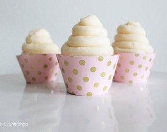 Pink And Gold Polka Dotted Cupcake Wrappers, Gold Cupcake Wrappers, Pink Cupcake Wrappers, Baby Shower Cupcake Wrappers- Set Of 6, 12,18,24+