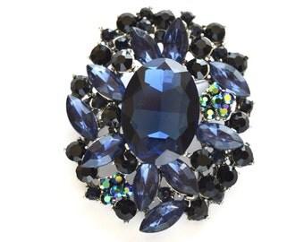 Navy Blue Rhinestone Crystal Brooch Wedding Accessories Bridal Brooch bouquet Craft Supply DIY