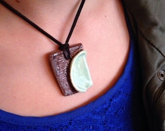 Brown and blue square anstract pendant