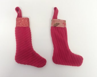 CLEARANCE SALE Handmade Refreshed 2 Christmas Ribbon Top Trimmed Stockings Set!
