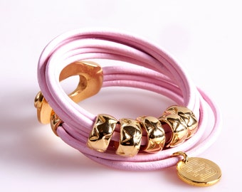 ART9 Baby Pink Triple Wrap Leather Bracelet