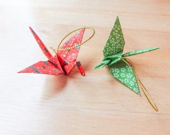 Set of Two Japanese Origami Crane Ornaments