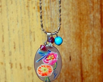 Hand-painted stainless steel Dragonfly necklace, dragonfly necklace miniature painting