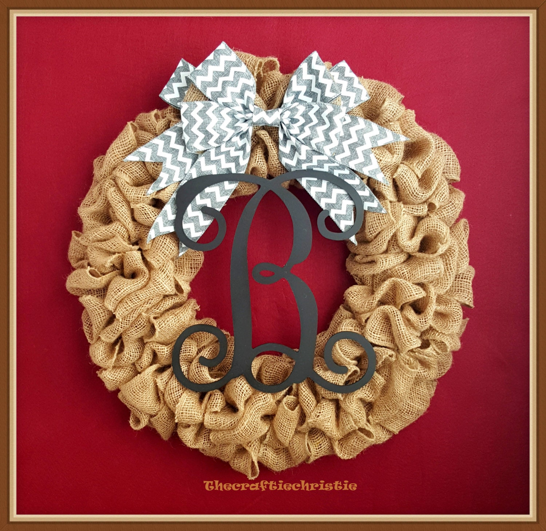 Home Decor Wreaths: Rustic Home Decor-Burlap Wreath-Monogram Burlap Wreath-Front