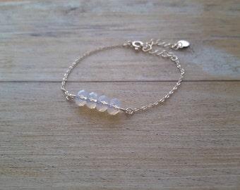 Opal Bracelet, sterling silver and white Swarovski crystals, hand made