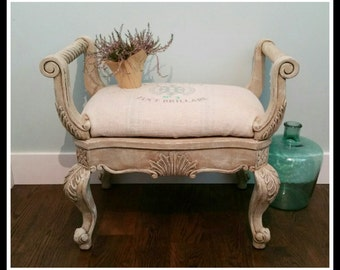 SOLD!!!  French Country Bench Vintage Stool Shabby Chic Chalk Painted Seating
