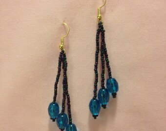 Dangle Aqua Earrings Handmade Unique Original Seed Beads Romanitic Boho Blue and Black Classy Statement Fashionable Exotic Custom MaxMade