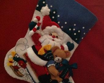 """1 """"Santa On Sled"""" finished BUCILLA Stocking"""