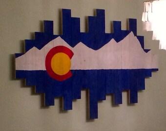 Wooden Colorado flag wall art