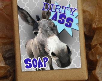 DIRTY ASS SOAP - gag gift, bathroom humour, donkey, handmade soap, gifts under 10, bucks night, groomsmen gift