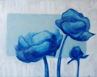 "painting:""Blue flowers"" 60x80cm"