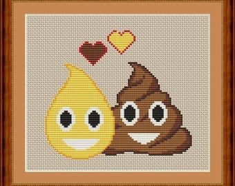 Poop Emoji Cross Stitch PDF Pattern - Pee & Poo in Love