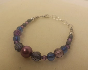 Purple and Blue Bracelet with Adjustable Chain