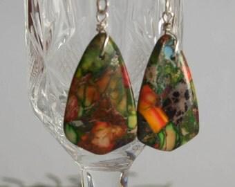 Stone earrings Multicolored earrings Gemstone earrings Simple dangle earrings Silver plated hooks Hypoallergenic earrings