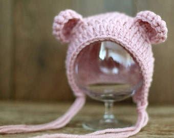 Newborn bear hat, Rose color hat, Baby bonnett, Photo prop, Photography, Knitted hat, Beanie, Shower gift