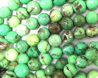 "8mm faceted green chrysoprase round beads 7.5"" strand 35038"