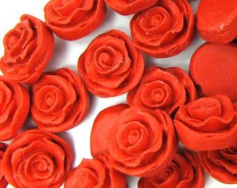8x18mm red cinnabar carved rose flower beads 6pcs