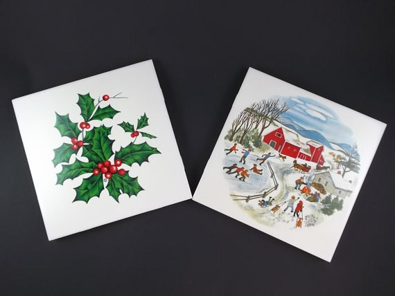 Vintage Ceramic Tile Trivets Christmas Table Decor Decorative Collectible Tiles Hot Plate Serving Wall Hanger Kitchen Decor Holiday Trivets