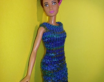 Hand knitted dress for a Barbie doll