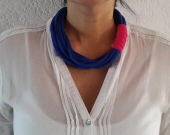 Fashion Blue Magenta Trapillo Necklace