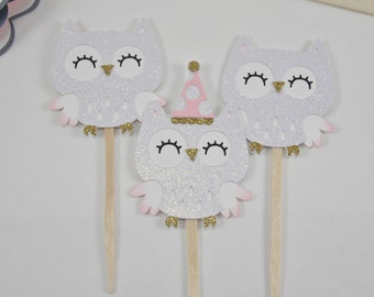 Owl Cupcake Toppers | Owl Party supplies | Owl Birthday Party Decorations | Owl Birthday | Owl Party Decorations| Owl Birthday Decorations