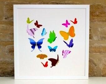 Butterfly Heart - Cut Out Art - Home Decor - Framed