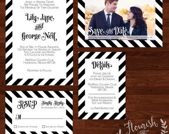 Black Stripe Wedding Announcement Suite