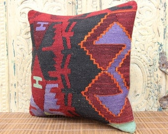 Handmade kilim pillow cover 16x16 inches Turkish kilim pillow cover Sofa Decor Rustic pillow Ethnic pillow Accent Pillows SKK-1191