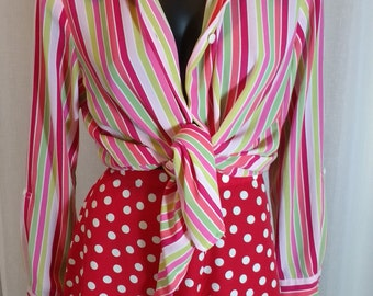 Vintage ladies kitsch pink, green, white and coral striped blouse