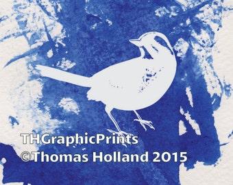 Silhouette Bird on Watercolor Print Decoration